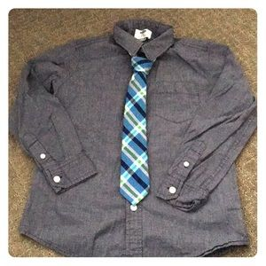 Boys Blue Button Down with Blue & Green Plaid Tie